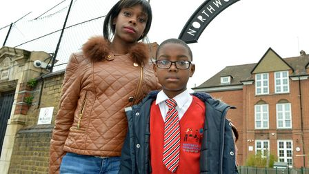 Banned: Shanika Small with son Rashawn, seven, outside Northwold Primary School. Picture: Polly Hanc