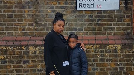 Natalie Semper and her daughter Charmiah outside Northwold Primary School. Natalie has been banned f