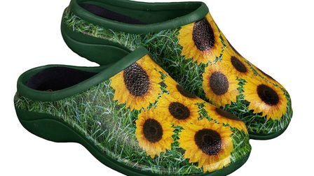 Sunflower design shoes, available from backdoorshoes.co.uk
