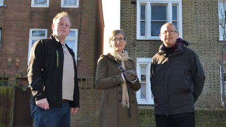 Nick Perry, Lisa Shell, and John Finn of the Hackney Society in Sanford Terrace. The society managed