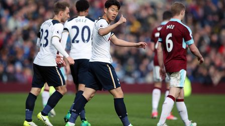 Tottenham Hotspur's Heung-Min Son (centre) celebrates scoring his side's second goal at Burnley (pic