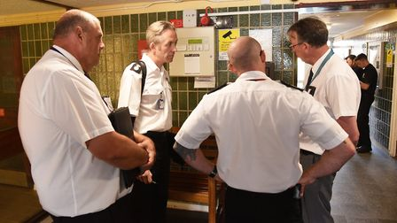 Suffolk Fire and Rescue Service providing safety advice to residents of St Peters Court in Lowestoft