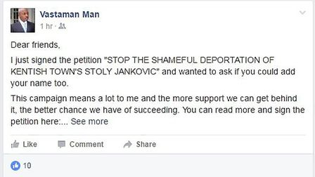 Actor Vas blackwood shared the petition on facebook
