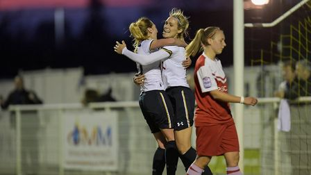 Tottenham Hotspur Ladies celebrate as they head to a 3-1 win over Charlton Athletic in the Roux Aven