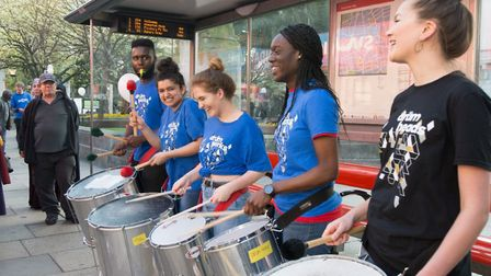 Performers from the Drum Works group - which uses music to help reach young people in schools - sere