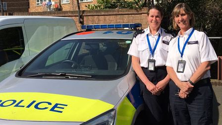 Pc Catherine Leach and Pc Pam Horgan at Stoke Newington police station. Both work on Sgt Natalie Wya
