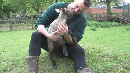 Hackney City Farm manager Chris Pound with a newborn lamb. Picture: Hackney City Farm