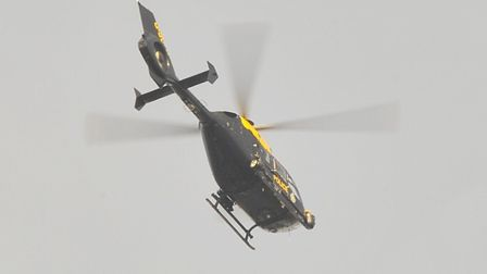 A police helicopter was used in a police training exercise in Lowestoft Picture: Simon Finlay.