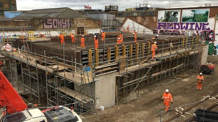 Construction on the Hackney Wick station subway is in progress