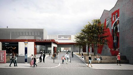 An artist's impression of what the Hackney Wick station entrance will look like