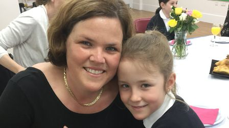 Natalie Lehmann and Macy Lehmann enjoy their Mother's Day breakfast at St Anthony's School for Girls