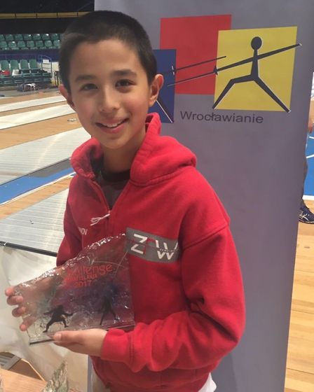 ZFW Fencing Club's David Jacob-Sosnov with his trophy