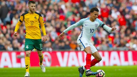 Dele Alli in action for England against Lithuania on Sunday (pic: Nick Potts/PA Images).