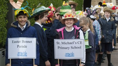 Easter Bonnet parade by St Michael's Primary School in Highgate. Credit: Nigel Sutton