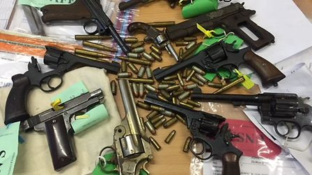 Some of the hand guns handed in during a firearms and ammunition surrender across Norfolk and Suffol