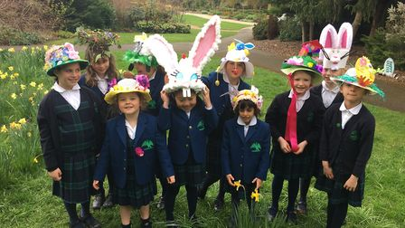 St Anthony's School for Girls students sporting their Easter bonnets.