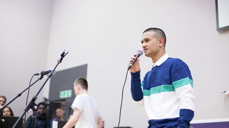 Abdal Hassan speaking at Stoke Newington School's community evening in March.