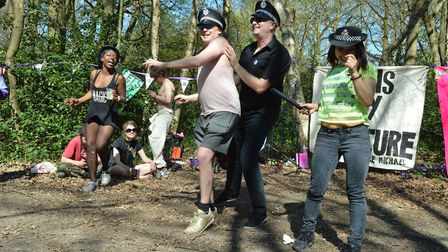 The first George Michael Wants You party on Hampstead Heath 08.04.17. Dancing dressed in police hats