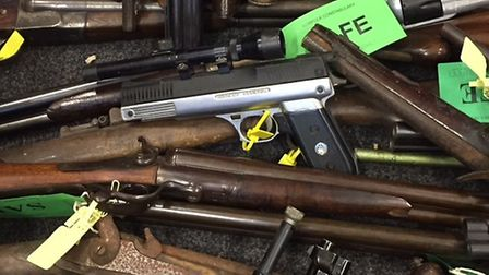 Some of the firearms handed in during a firearms and ammunition surrender across Norfolk and Suffolk