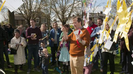 Richard reads out a message of freedom from Nazanin Zaghari-Ratcliffe and her supporters. Photo: Nig