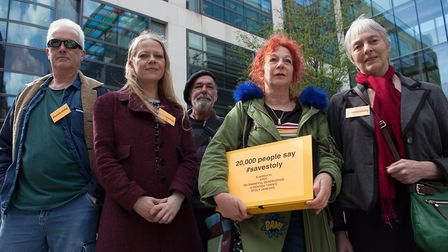 Sue Odell, Sian Berry and supporters of Stojan Jankovic, with the petition against his deportation,