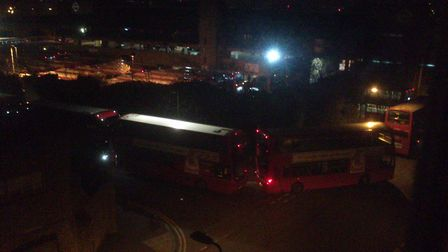 Buses are queuing outside Ash Grove Bus Station in the early hours