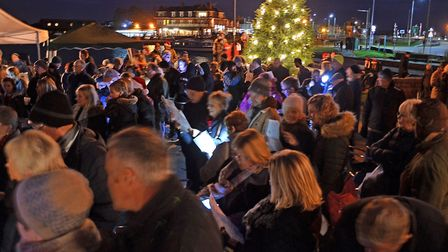 The crowds gather at last year's Carols Around the Christmas Tree event in Oulton Broad. Pictures: M