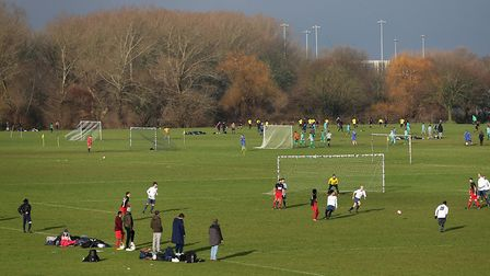 Matches on the East Marsh during Hackney and Leyton Sunday League Football at Hackney Marshes, Janua