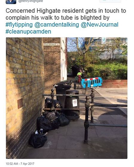 Camden Tory Henry Newman highlights mess in Highgate. Picture: Twitter