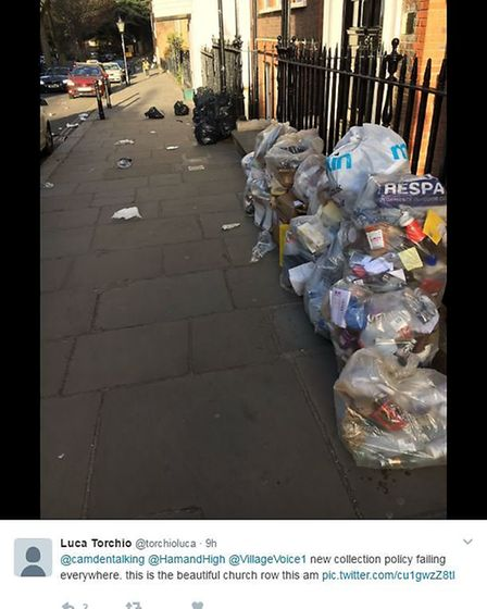 A user bemoaning the state of Church Row in Hampstead. Picture: Twitter