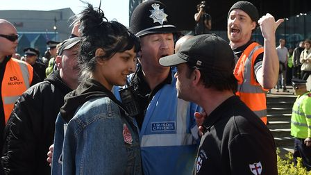 Sometimes a smile is the best weapon, as Birmingham's Saffiyah Khan demonstrated against the EDL. PH