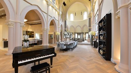 The home benefits from 45ft high vaulted ceilings