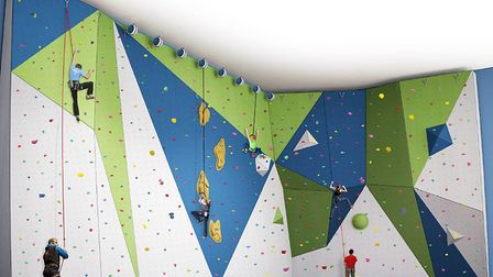 An impression of the proposed climbing wall design planned for Waterlane Leisure Centre in Lowestoft
