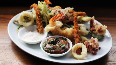 Fritto misto (squid, Argentinean red prawns, braised pigs ears and seasonal vegetables with black ga