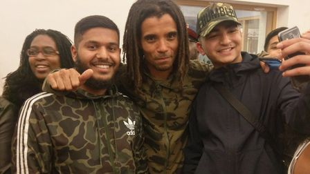 Rapper Akala (centre) visited the Concorde Youth Hub