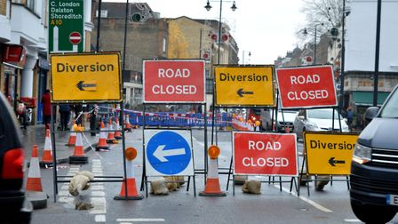 Stoke Newington High Street being dug up in December after a flood wrecked the road surface. Picture