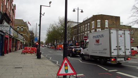 Stoke Newington High Street, pictured, is largely one-way, with southbound traffic diverted to the e