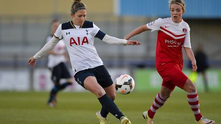 Jenna Schillaci in action for Spurs Ladies against Charlton (pic wusphotography.com)
