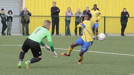 Ant McDonald in action for Haringey Borough against Norwich United (pic Tony Gay)
