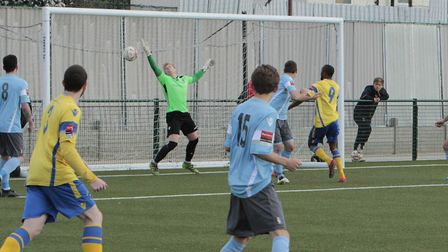 Ralston Gabriel scores for Haringey Borough against Norwich United (pic Tony Gay)