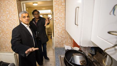 Mayor of London Sadiq Khan with a Council enforcement officer conducting a raid at a property in New