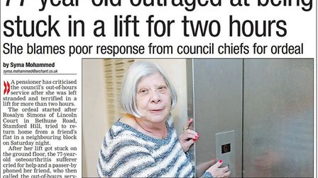 Rosalyn was in the Gazette in 2014 after getting stuck in one of the lifts.