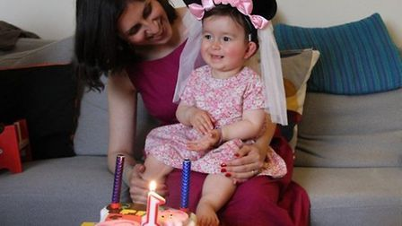 Nazanin with Gabriella, celebrating her first birthday. Gabriella turned two while living with her I