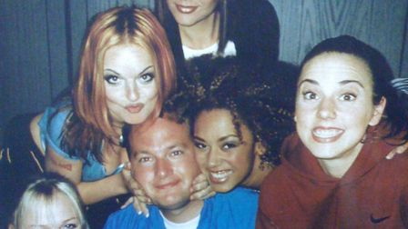 Des Burkinshaw with the Spice Girls