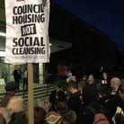 Protestors outside a previous council meeting at Haringey Civic Centre
