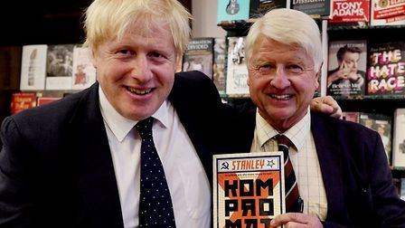 Stanley Johnson with son Boris at a book launch in Daunts, Marylebone: Picture: Mark Rusher