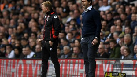 Tottenham Hotspur manager Mauricio Pochettino (right) gestures on the touchline during the Premier L