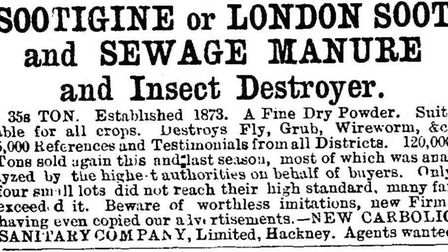 An advert for Sootigine from 1886.