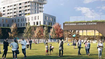 A computer generated image of what the new Britannia Leisure centre site development will look like.