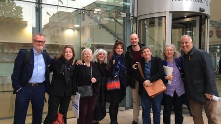 A delegation of Save the Britannia Leisure Centre campaigners outside Hackney Learning Trust on Tues